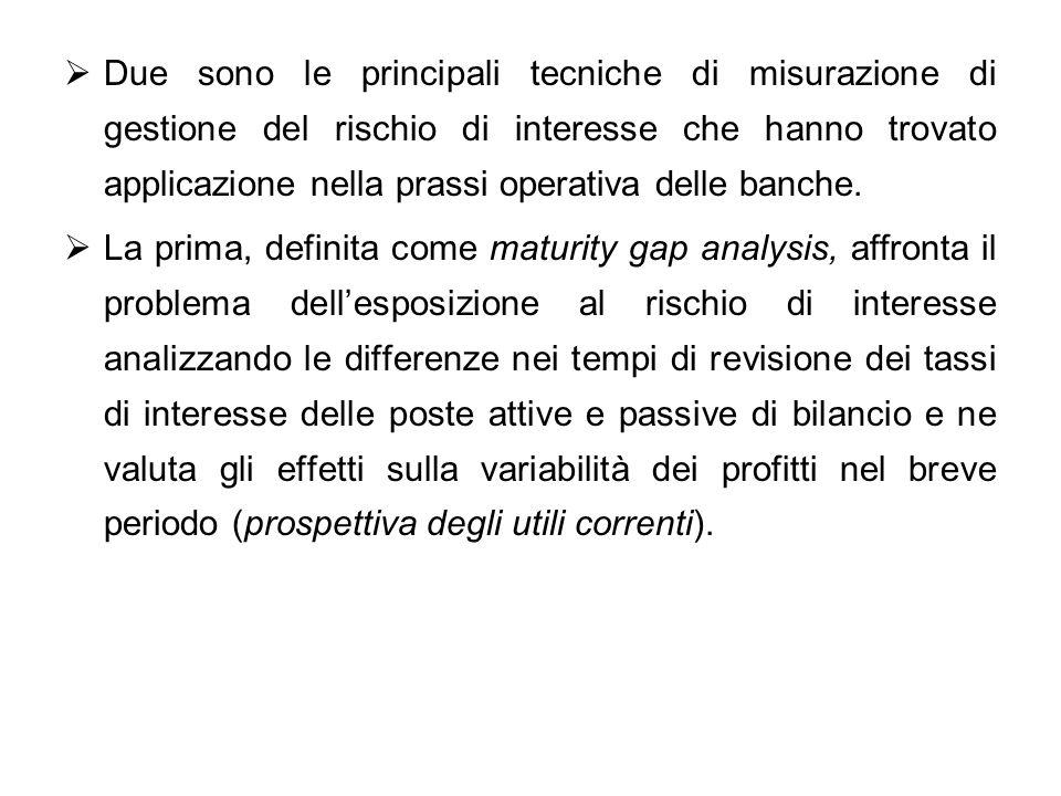 Due sono le principali tecniche di misurazione di gestione del rischio di interesse che hanno trovato applicazione nella prassi operativa delle banche.