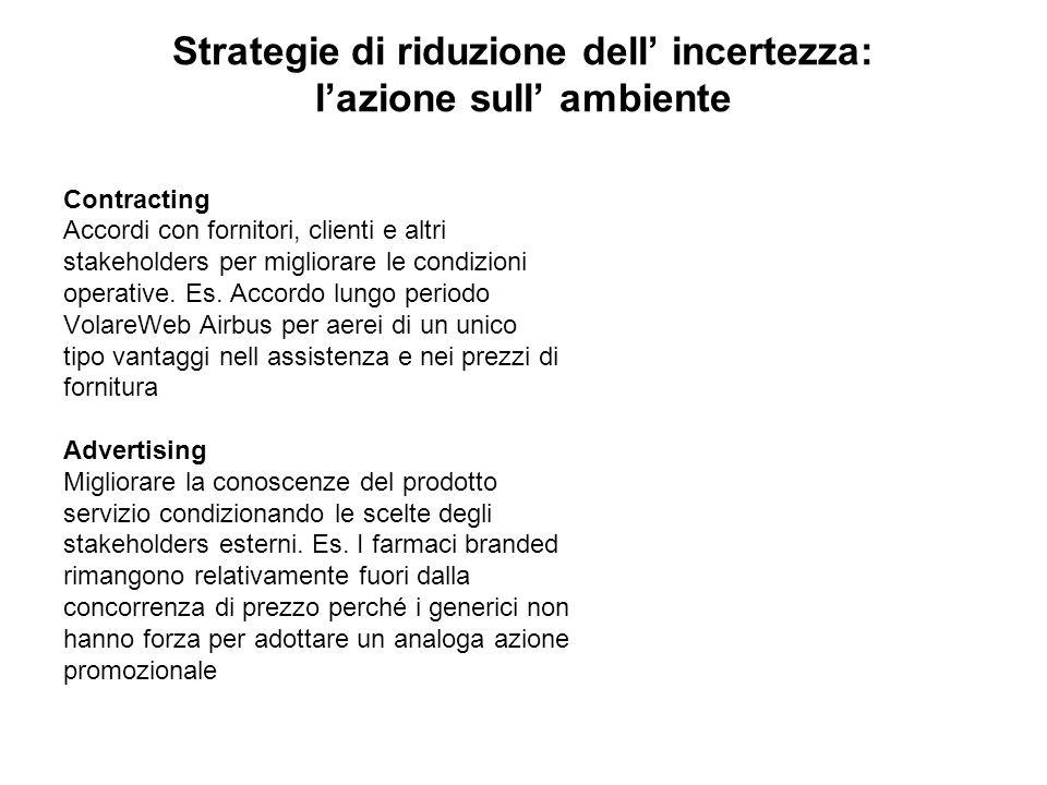 Strategie di riduzione dell' incertezza: l'azione sull' ambiente