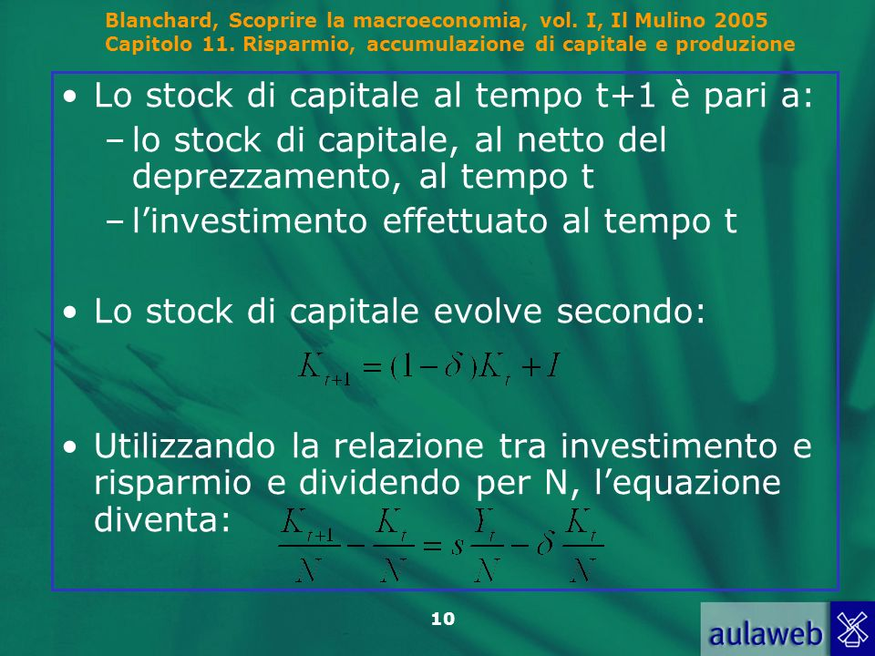 Lo stock di capitale al tempo t+1 è pari a: