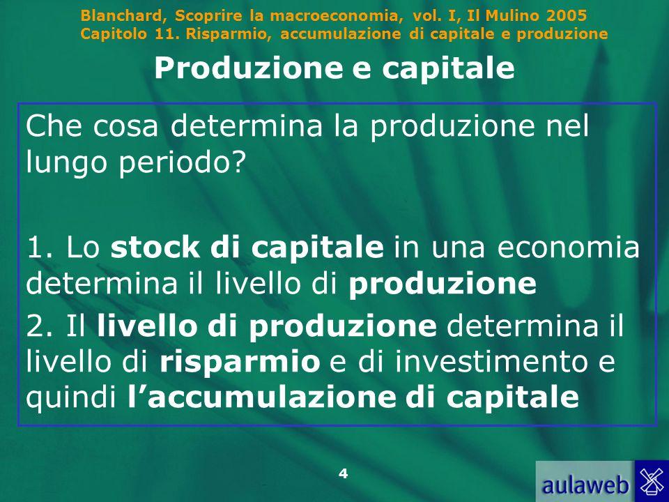 Produzione e capitale Che cosa determina la produzione nel lungo periodo 1. Lo stock di capitale in una economia determina il livello di produzione.