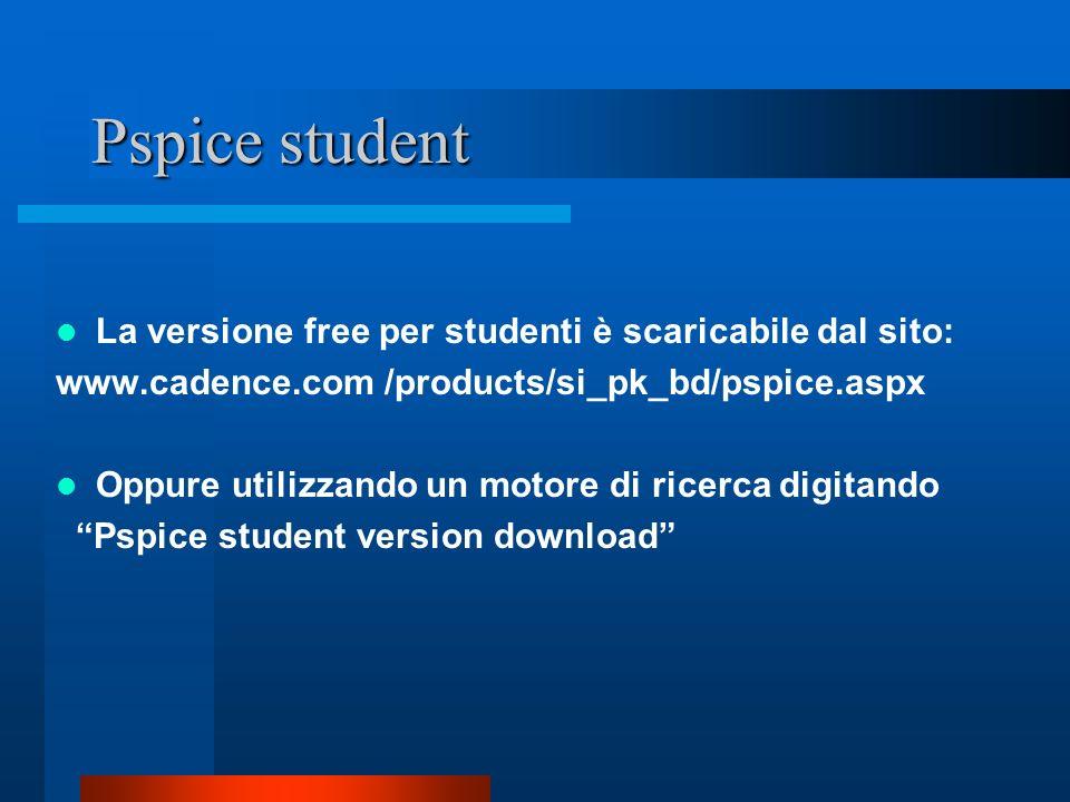 Pspice student La versione free per studenti è scaricabile dal sito: