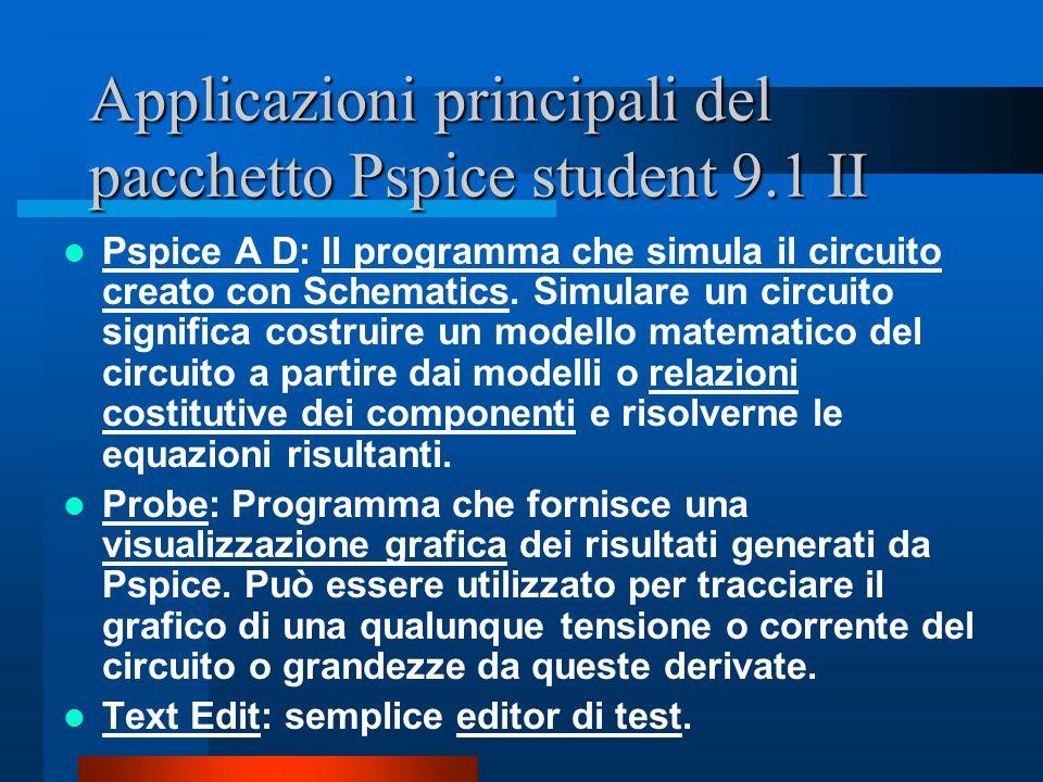 Applicazioni principali del pacchetto Pspice student 9.1 II