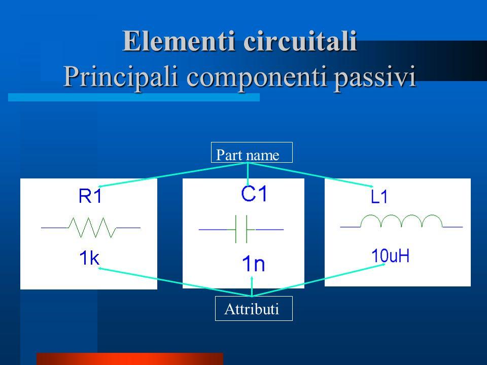 Elementi circuitali Principali componenti passivi