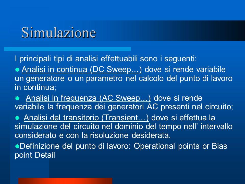 Simulazione I principali tipi di analisi effettuabili sono i seguenti:
