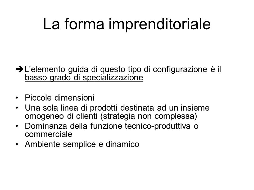 La forma imprenditoriale