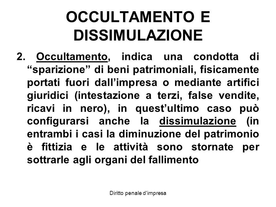OCCULTAMENTO E DISSIMULAZIONE