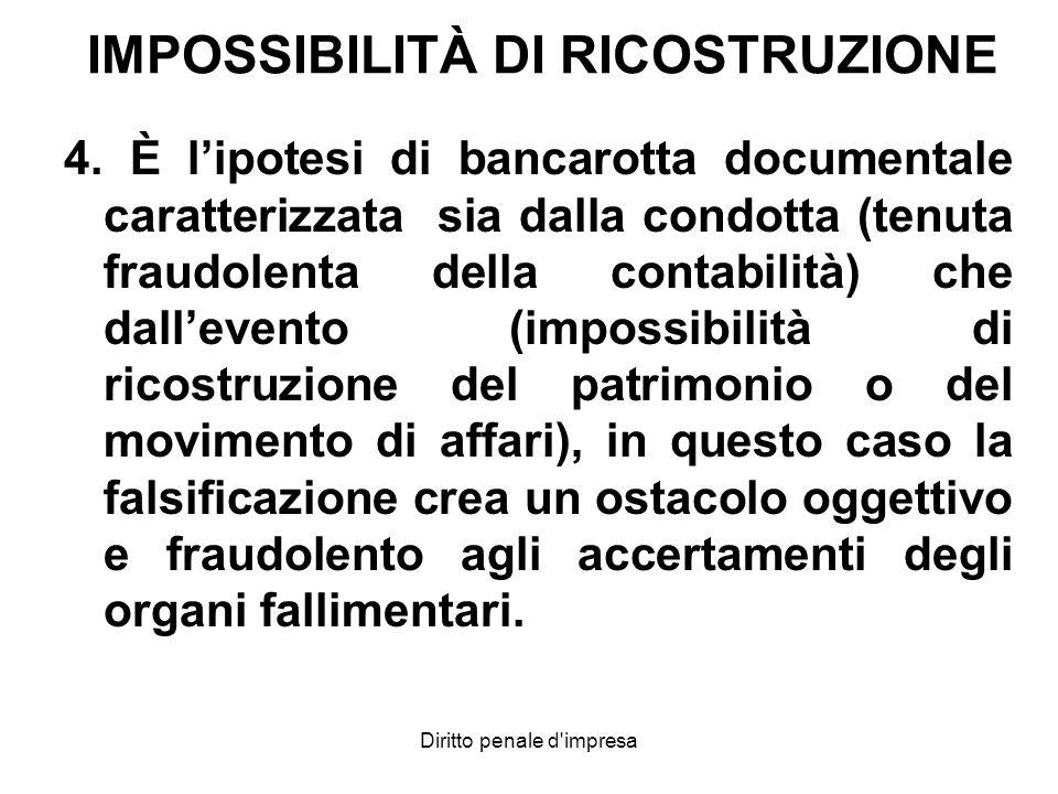 IMPOSSIBILITÀ DI RICOSTRUZIONE