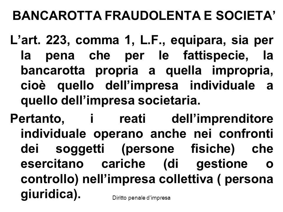 BANCAROTTA FRAUDOLENTA E SOCIETA'