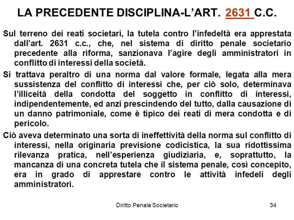 LA PRECEDENTE DISCIPLINA-L'ART. 2631 C.C.