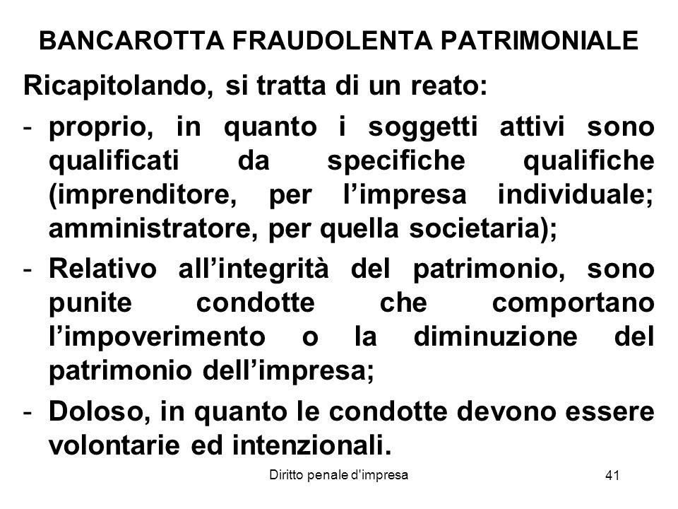 BANCAROTTA FRAUDOLENTA PATRIMONIALE