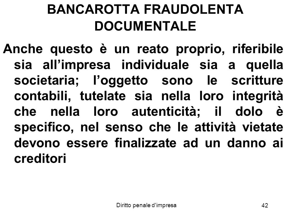BANCAROTTA FRAUDOLENTA DOCUMENTALE