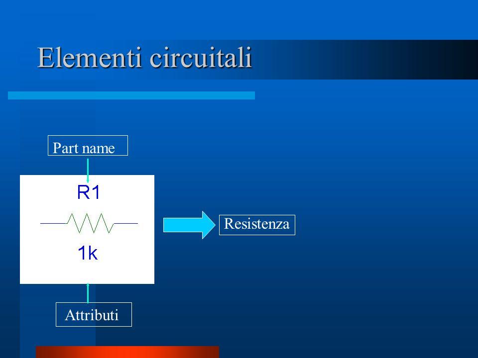 Elementi circuitali Part name Resistenza Attributi