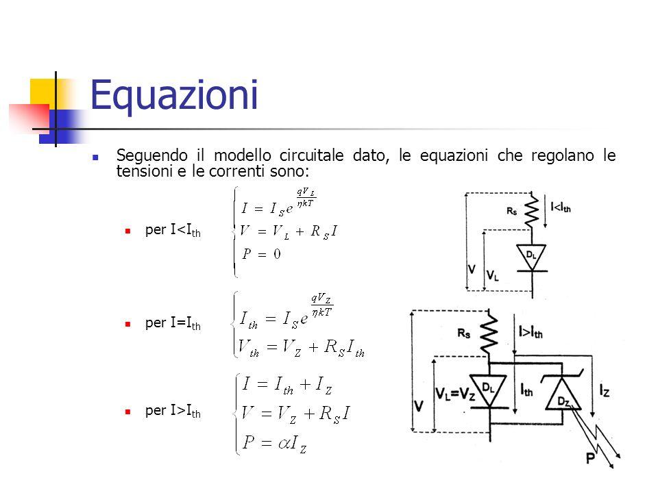 Equazioni Seguendo il modello circuitale dato, le equazioni che regolano le tensioni e le correnti sono: