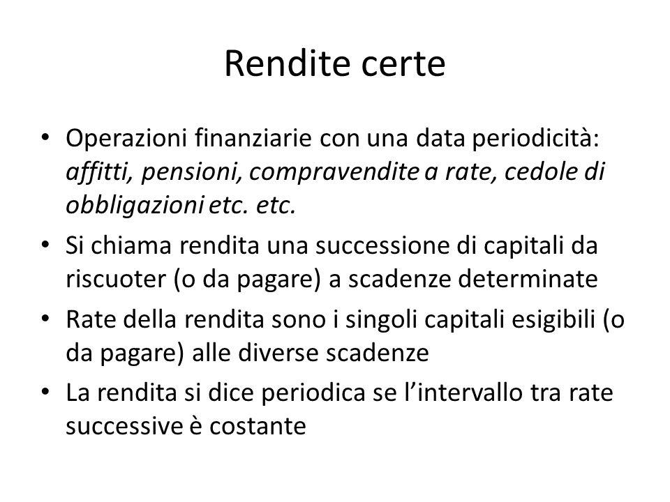 Rendite certe Operazioni finanziarie con una data periodicità: affitti, pensioni, compravendite a rate, cedole di obbligazioni etc. etc.