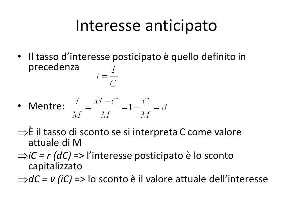 Interesse anticipato Il tasso d'interesse posticipato è quello definito in precedenza. Mentre: