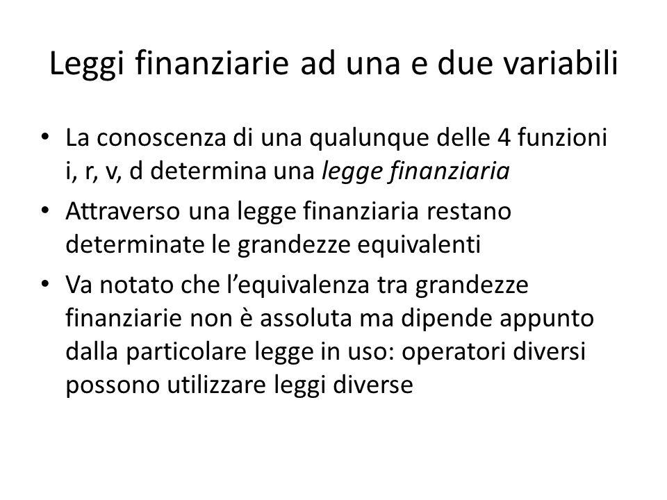 Leggi finanziarie ad una e due variabili