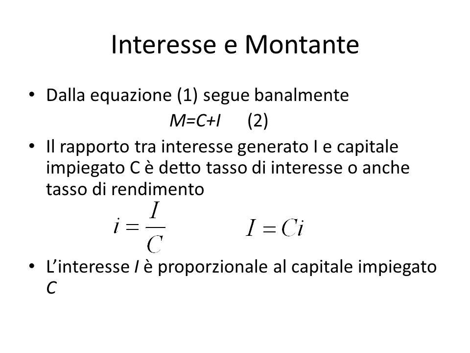 Interesse e Montante Dalla equazione (1) segue banalmente M=C+I (2)