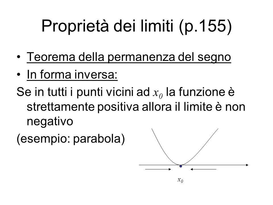 Proprietà dei limiti (p.155)