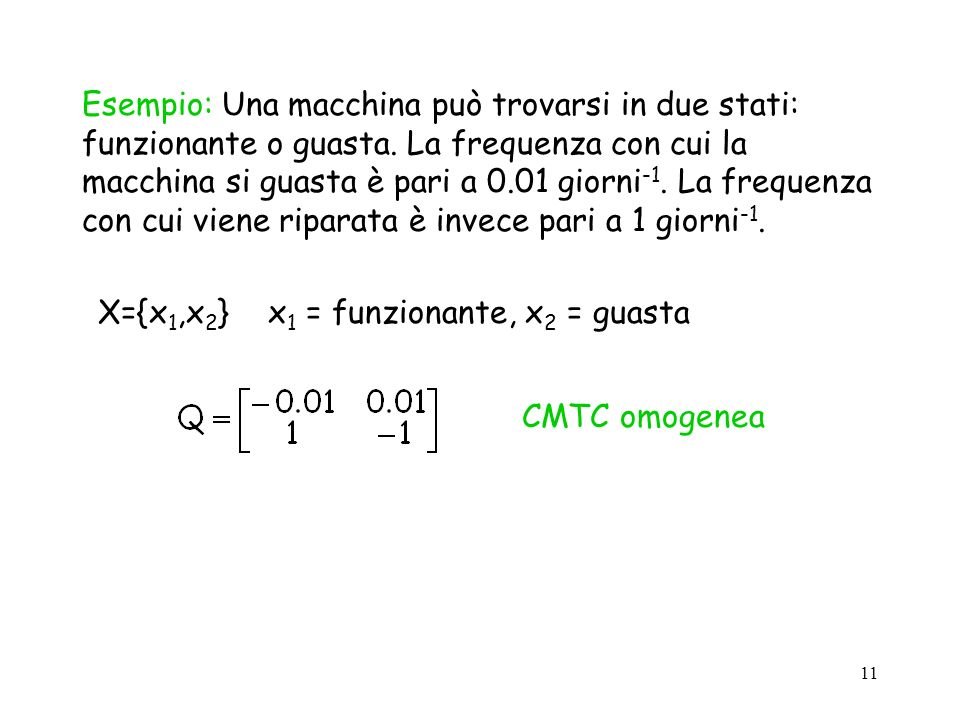 Esempio: Una macchina può trovarsi in due stati: funzionante o guasta