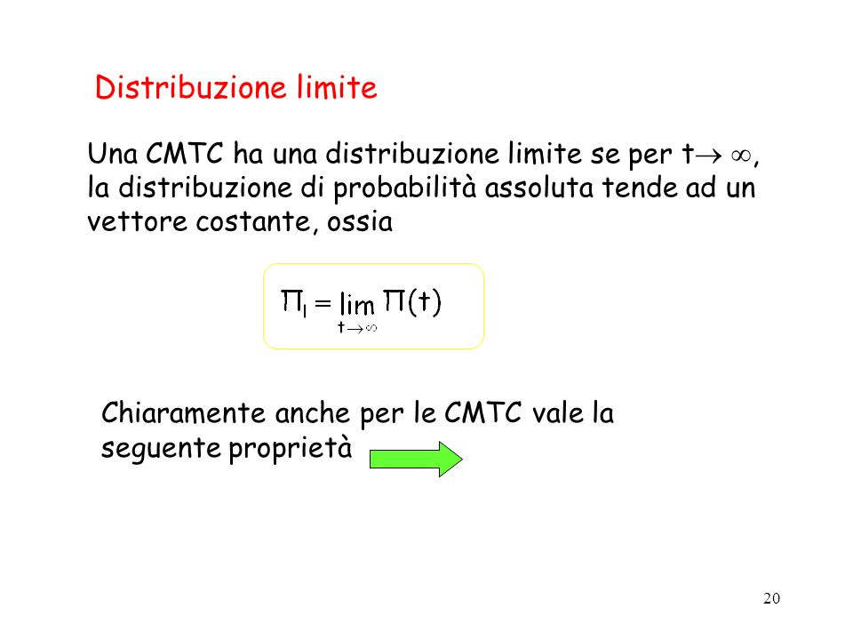 Distribuzione limite Una CMTC ha una distribuzione limite se per t , la distribuzione di probabilità assoluta tende ad un vettore costante, ossia.