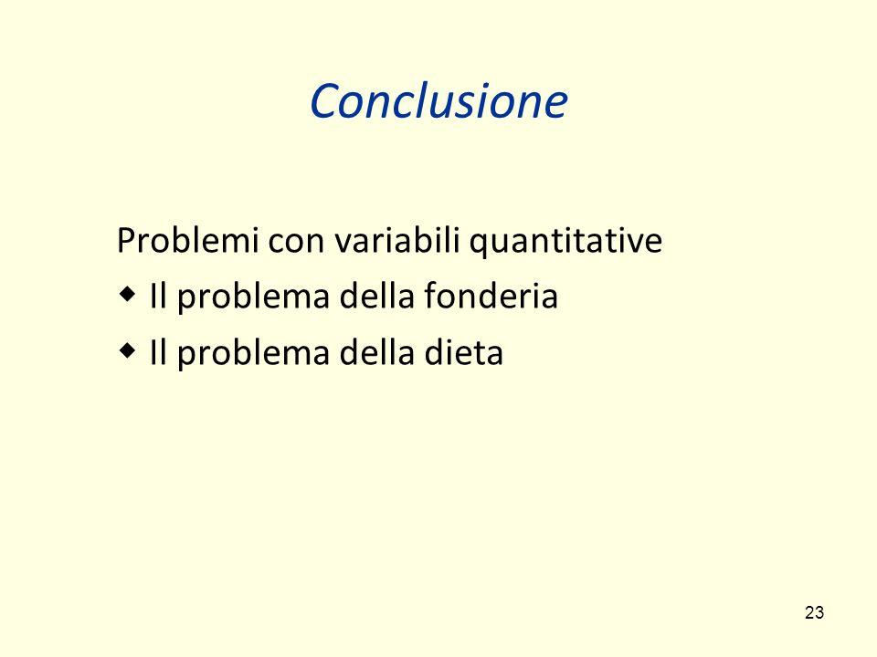 Conclusione Problemi con variabili quantitative