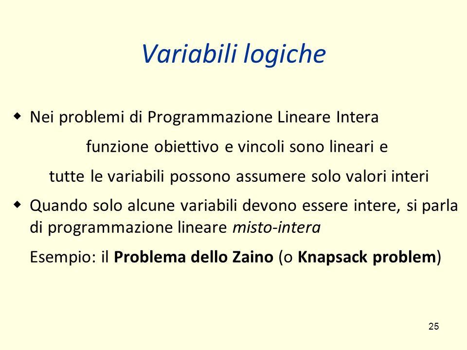 Variabili logiche Nei problemi di Programmazione Lineare Intera