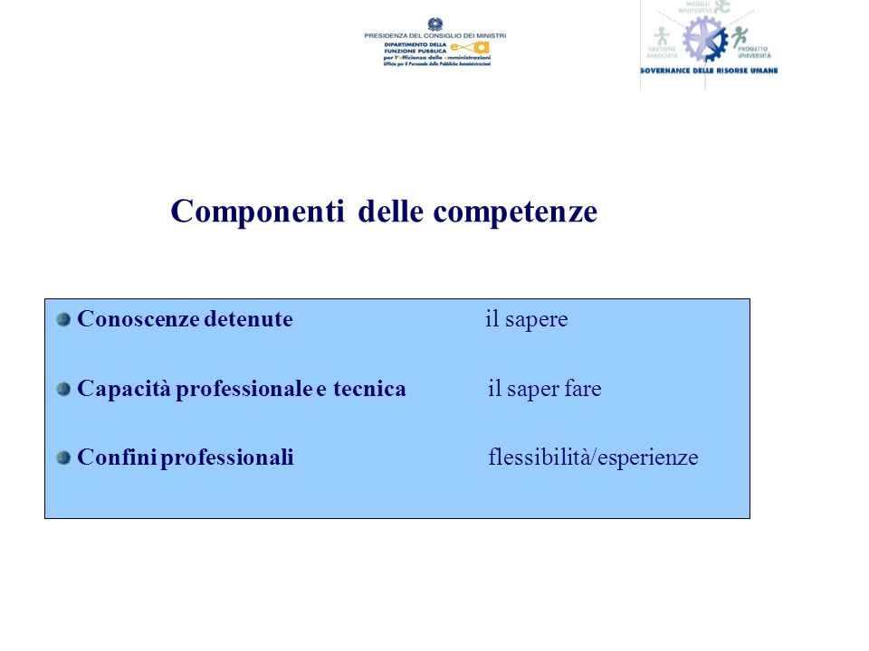 Componenti delle competenze