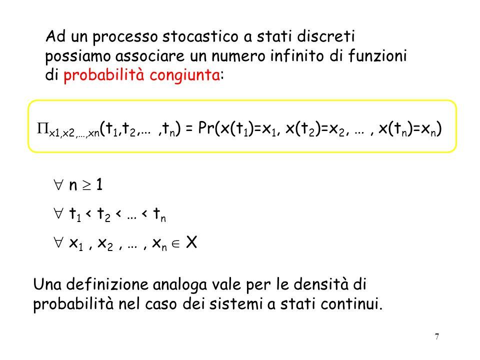 Ad un processo stocastico a stati discreti possiamo associare un numero infinito di funzioni di probabilità congiunta:
