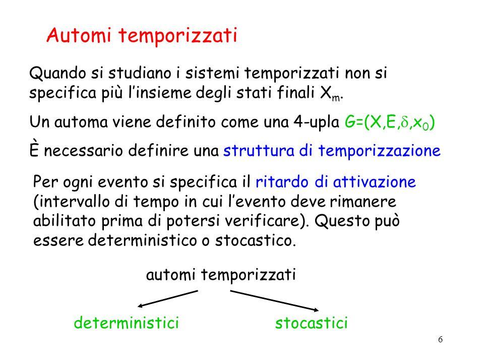 Automi temporizzati Quando si studiano i sistemi temporizzati non si specifica più l'insieme degli stati finali Xm.