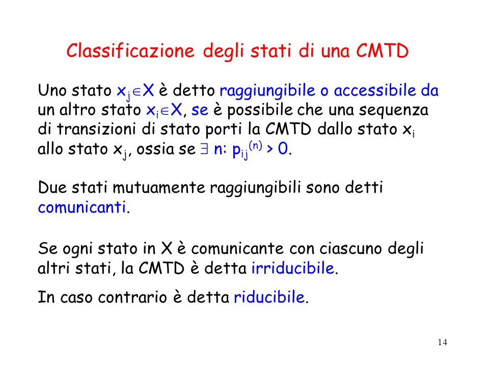 Classificazione degli stati di una CMTD