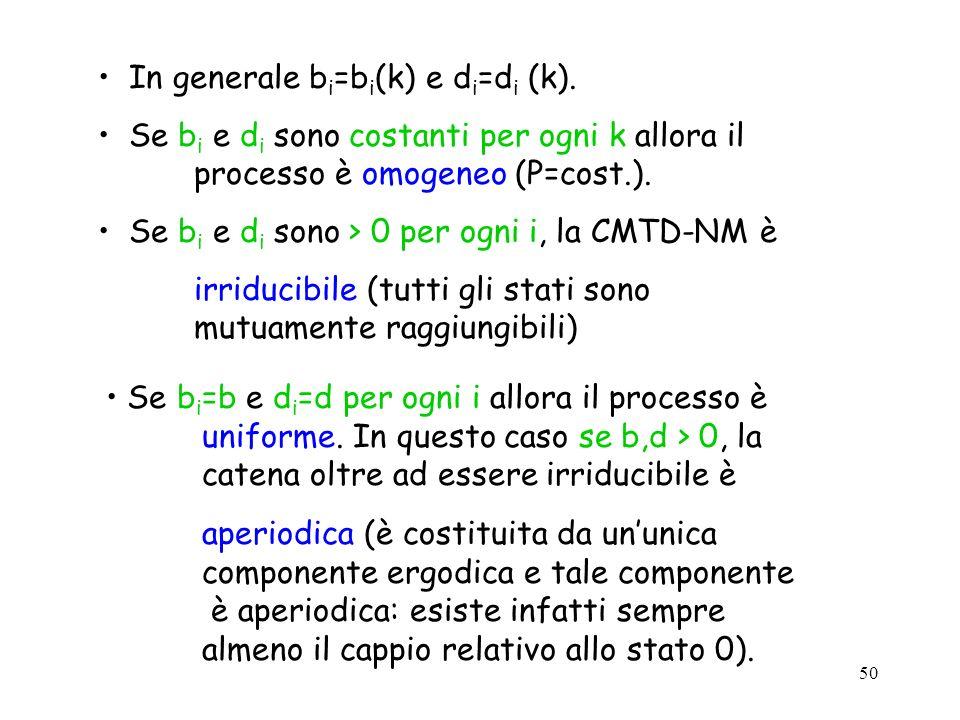 In generale bi=bi(k) e di=di (k).