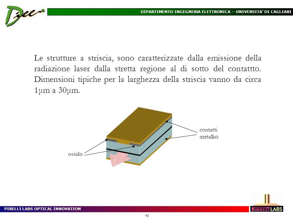 Le strutture a striscia, sono caratterizzate dalla emissione della radiazione laser dalla stretta regione al di sotto del contattto. Dimensioni tipiche per la larghezza della striscia vanno da circa 1μm a 30μm.
