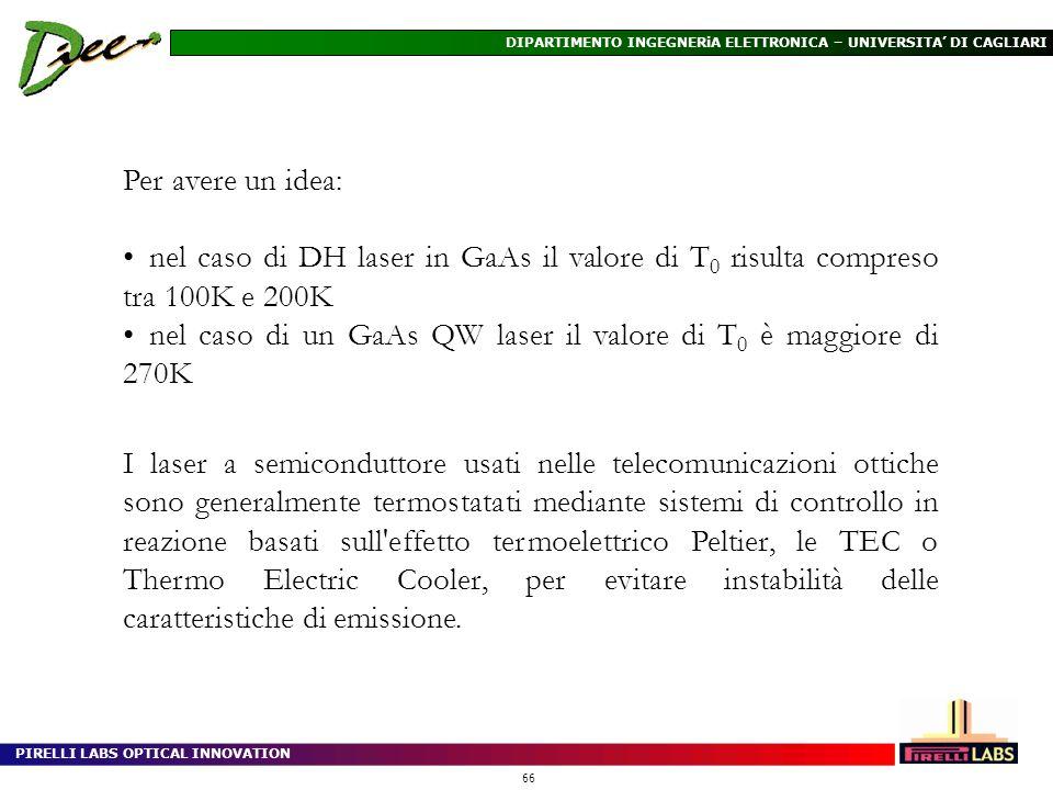 Per avere un idea: nel caso di DH laser in GaAs il valore di T0 risulta compreso tra 100K e 200K.