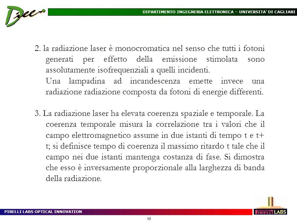 2. la radiazione laser è monocromatica nel senso che tutti i fotoni generati per effetto della emissione stimolata sono assolutamente isofrequenziali a quelli incidenti.