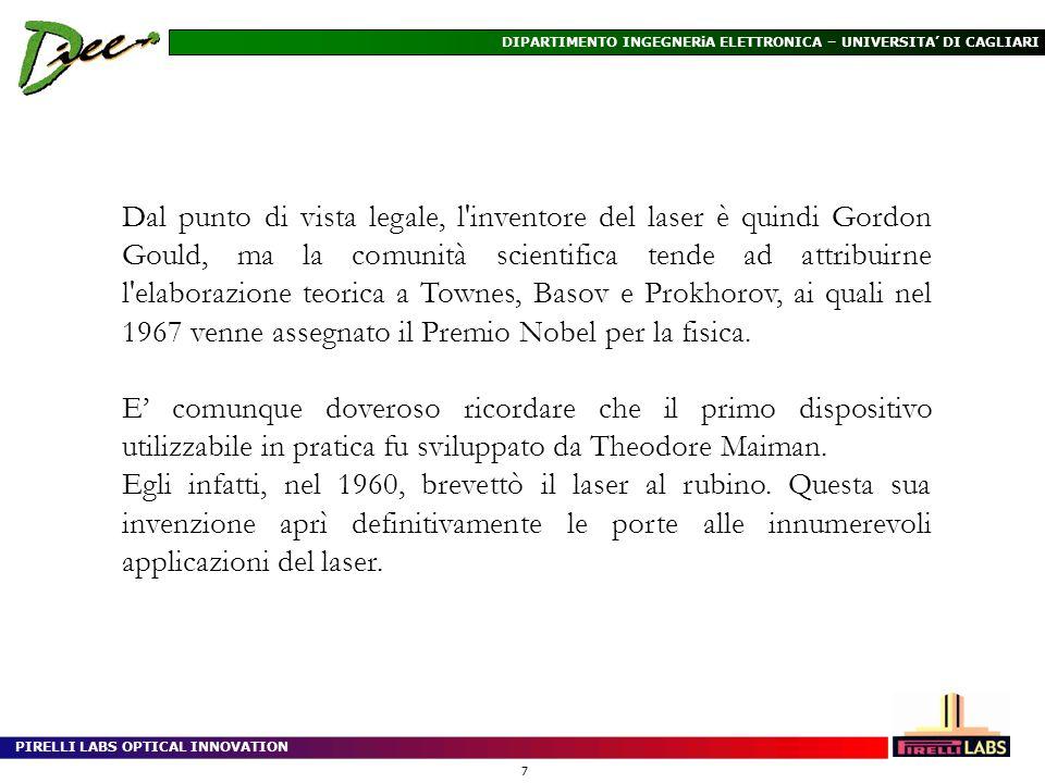 Dal punto di vista legale, l inventore del laser è quindi Gordon Gould, ma la comunità scientifica tende ad attribuirne l elaborazione teorica a Townes, Basov e Prokhorov, ai quali nel 1967 venne assegnato il Premio Nobel per la fisica.