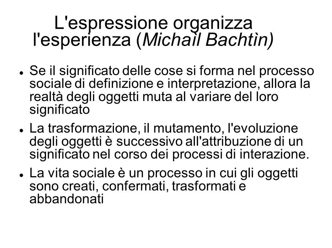 L espressione organizza l esperienza (Michaìl Bachtìn)
