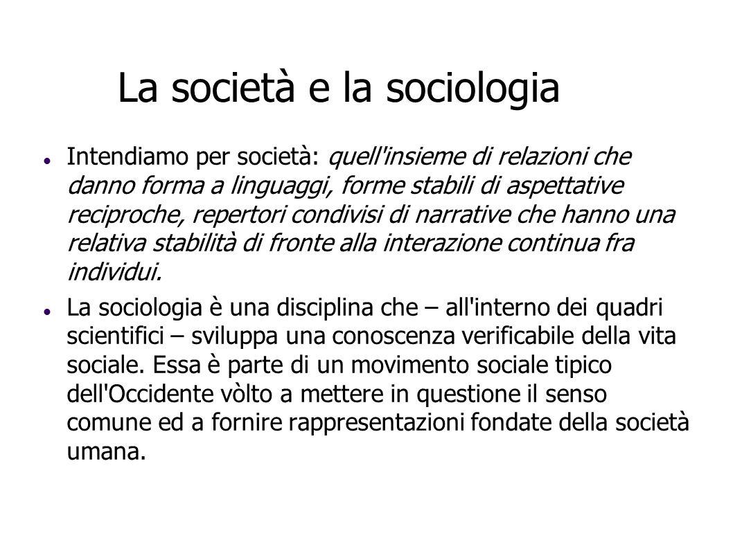 La società e la sociologia