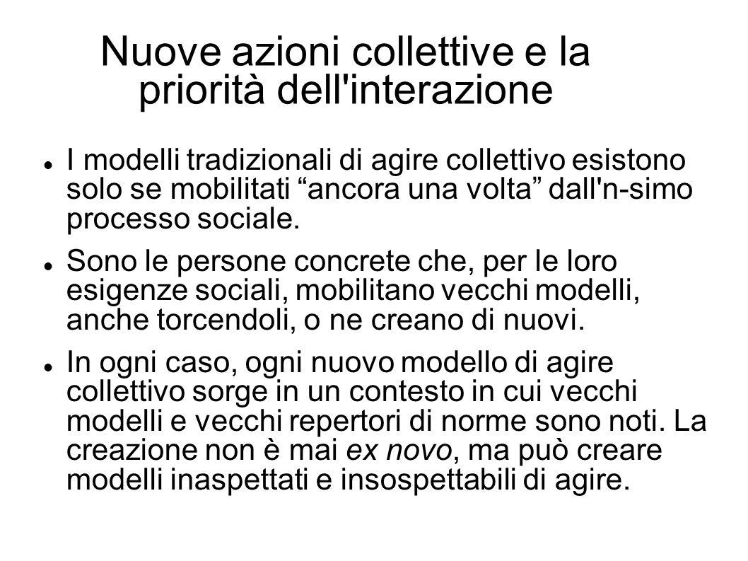 Nuove azioni collettive e la priorità dell interazione