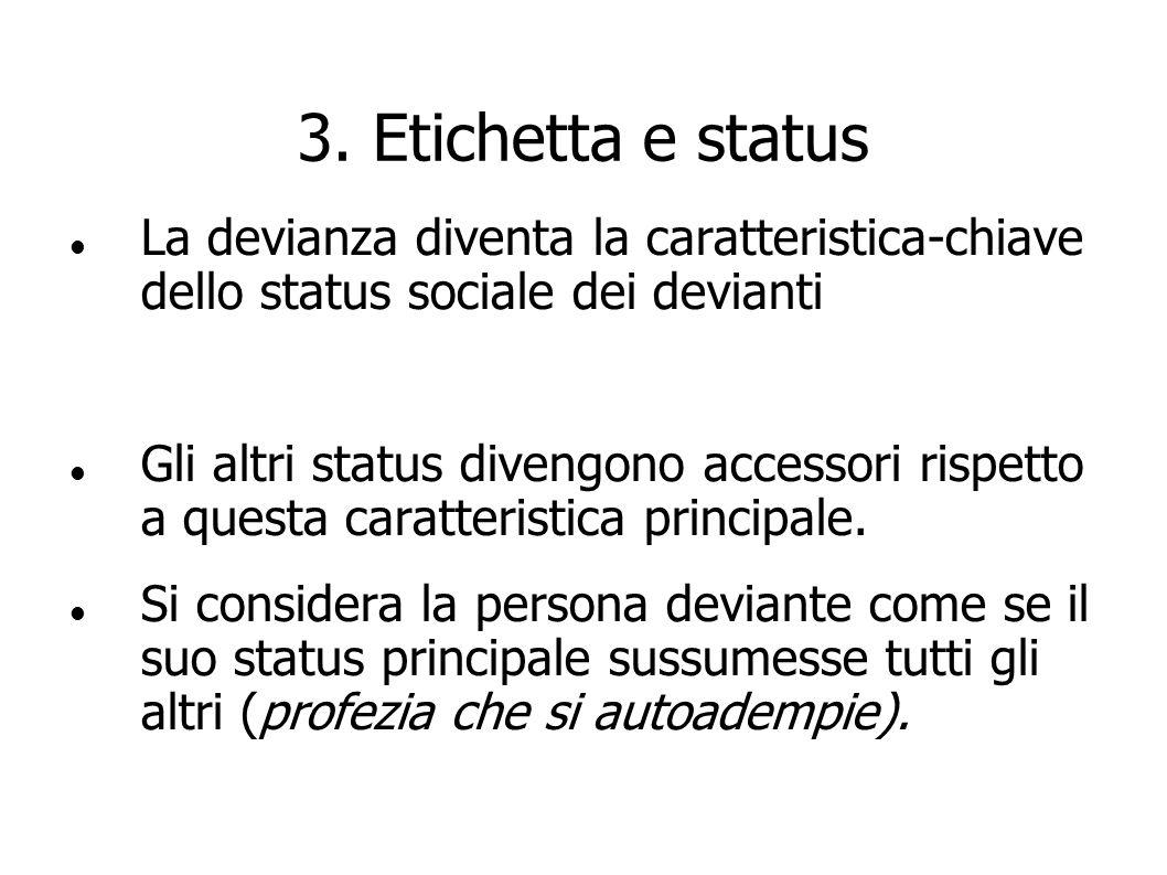 3. Etichetta e status La devianza diventa la caratteristica-chiave dello status sociale dei devianti.