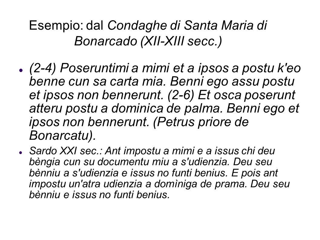 Esempio: dal Condaghe di Santa Maria di Bonarcado (XII-XIII secc.)