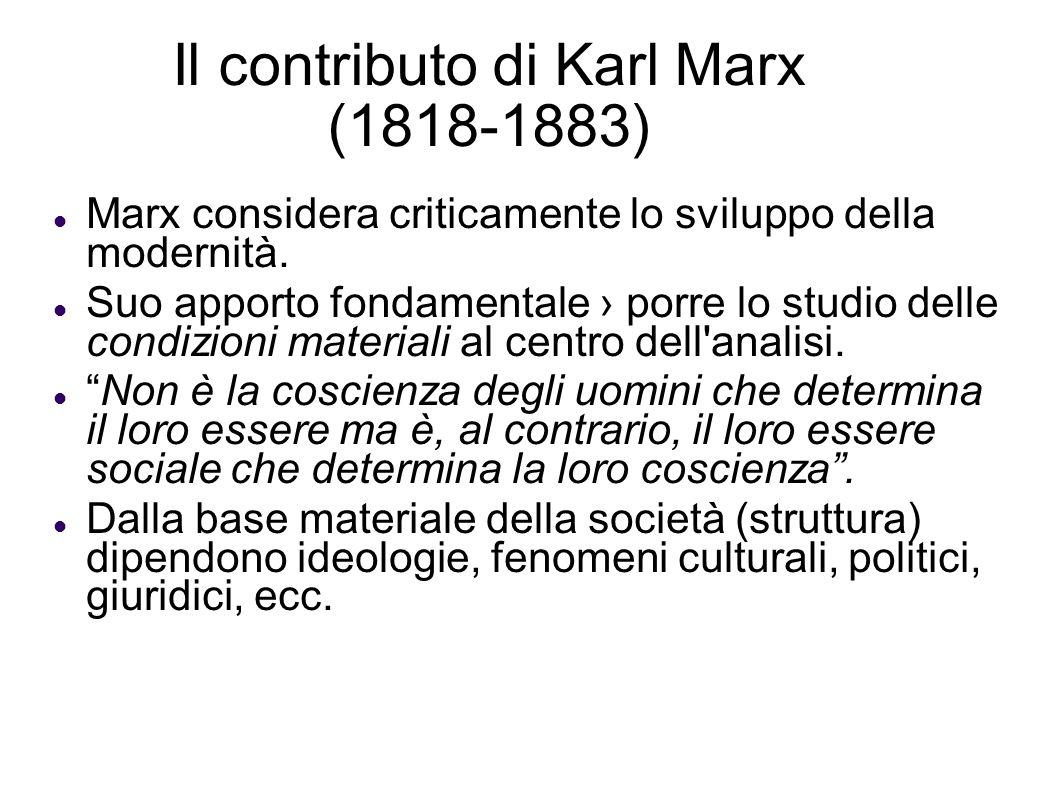 Il contributo di Karl Marx (1818-1883)