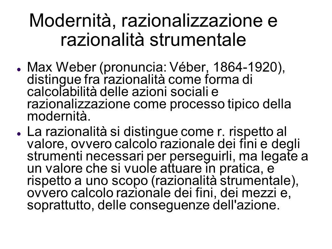 Modernità, razionalizzazione e razionalità strumentale