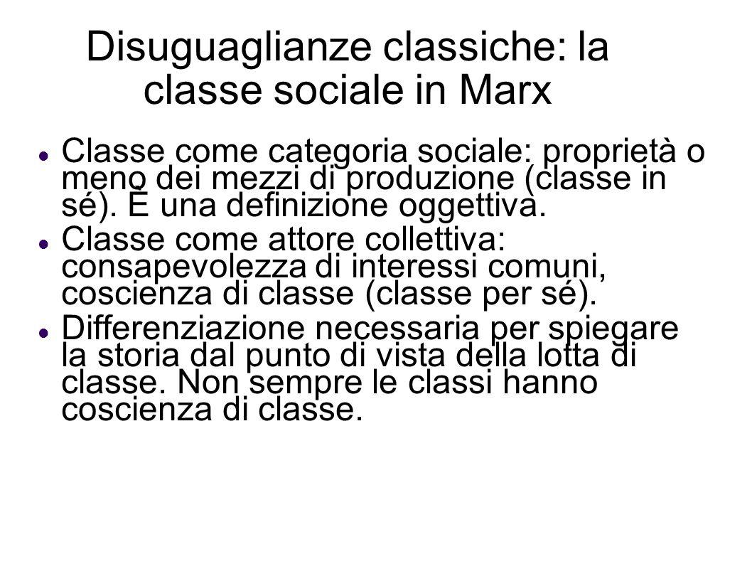 Disuguaglianze classiche: la classe sociale in Marx