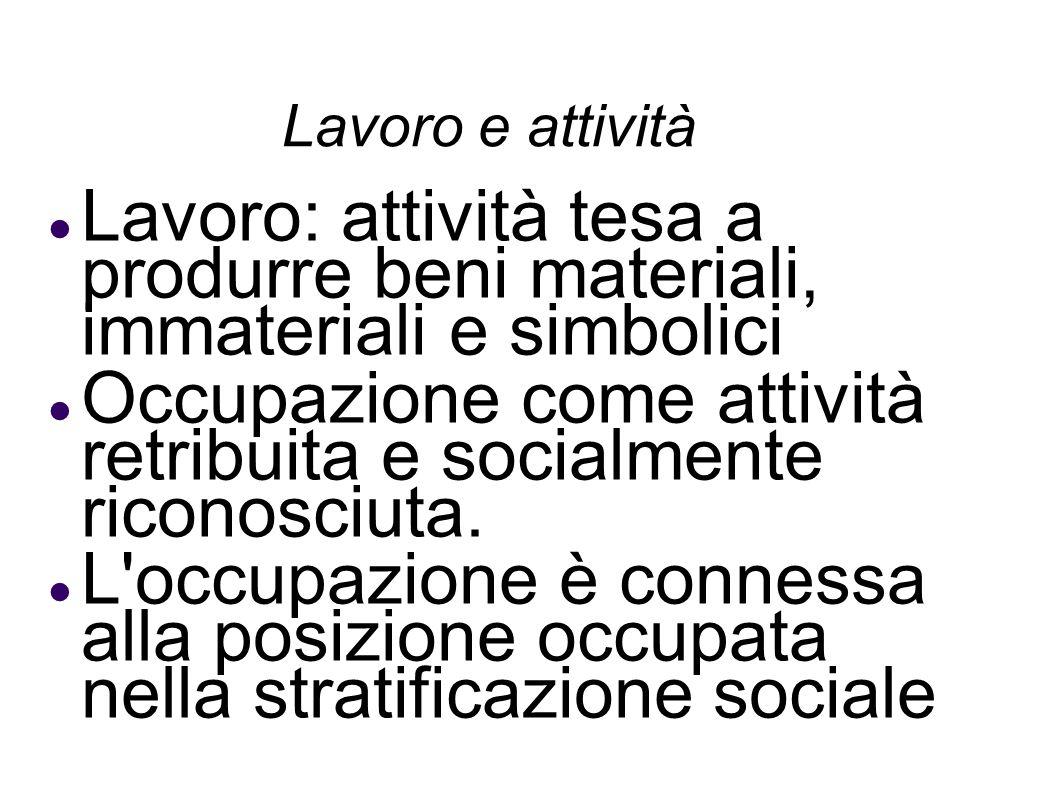 Occupazione come attività retribuita e socialmente riconosciuta.