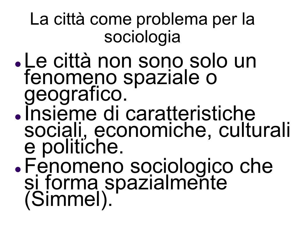 La città come problema per la sociologia