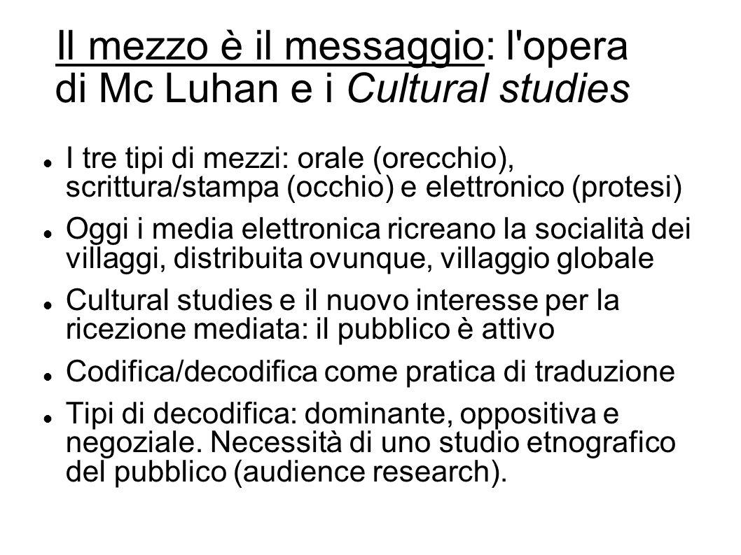 Il mezzo è il messaggio: l opera di Mc Luhan e i Cultural studies