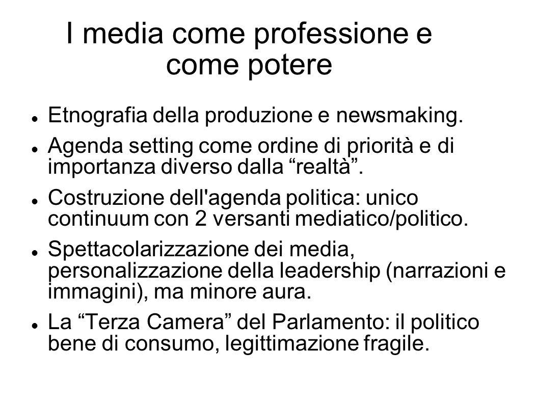 I media come professione e come potere