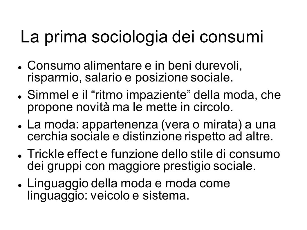 La prima sociologia dei consumi