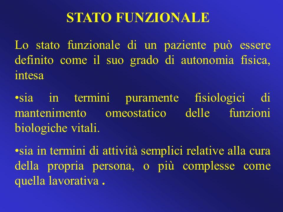 STATO FUNZIONALE Lo stato funzionale di un paziente può essere definito come il suo grado di autonomia fisica, intesa.