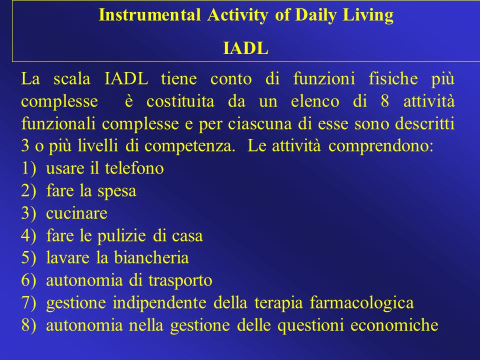 Instrumental Activity of Daily Living